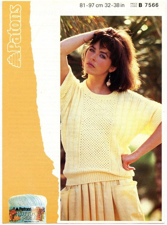 PDF Vintage Patons 7566 Knitting Pattern Women/'s Short Dolman Sleeve Summer Sweater Bust 32 34 36 38 Small Medium Digital Download