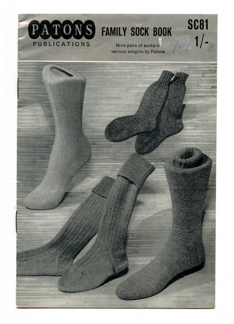Vintage Patons Family Sock Book Sc81 Knitting Patterns Nine Etsy