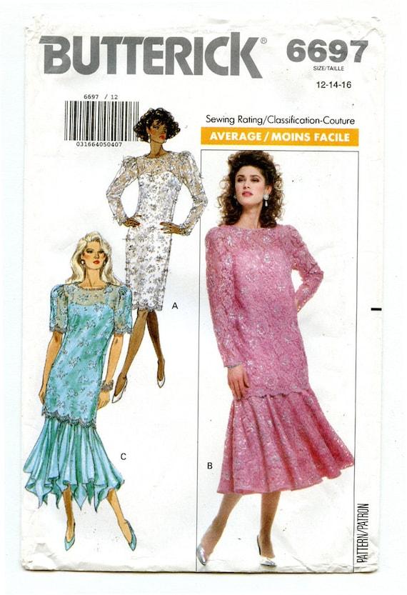 efff5f7b51 Vintage 80s Butterick 6697 UNCUT Sewing Pattern Women s