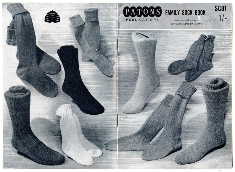 Pdf Vintage Patons Family Sock Book Sc81 Knitting Patterns Etsy