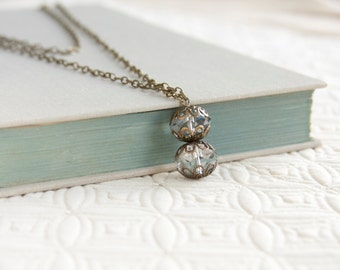 Crystal Antique Necklace, Vintage Inspired, Faceted Crystal Bead Necklace, Antique Brass, Filigree Bead Cap, Statement Necklace