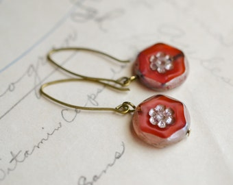 Coral Antique Earrings / Czech Glass Beads / Brass / Neo Vintage Jewelry