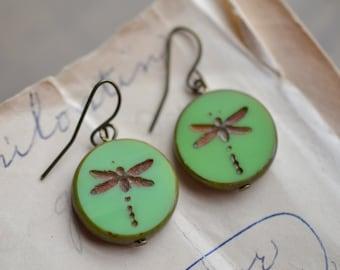 Mint Green Antique Earrings / Czech Glass Beads / Brass / Neo Vintage Jewelry