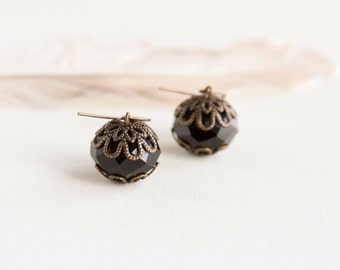 Black Antique Earrings, Faceted Glass Beads, Brass, Neo Vintage Jewelry