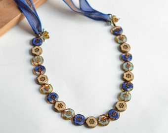Blue and Brown Ribbon Necklace / Assorted Czech Glass Beads / Findings / Neo Victorian Jewelry / Blue and Brown Jewelry