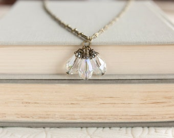 Crystal Antique Necklace, Vintage Inspired Necklace, Neo Victorian, Long Necklace, Antique Brass, Filigree Bead Cap