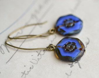 Cobalt Blue Antique Earrings / Czech Glass Beads / Brass / Neo Vintage Jewelry