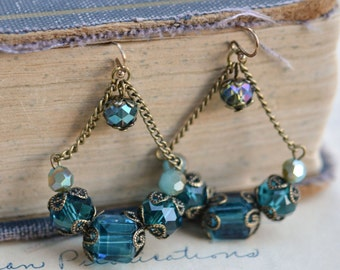 Aqua Blue Antique Earrings / Czech Glass Beads / Brass / Neo Vintage Jewelry