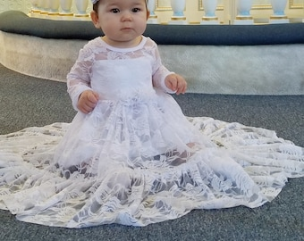 Baby & Toddler Clothing Vintage White Baby's Christening Baptism Gown Short Sleeve Dress 0-3 Months