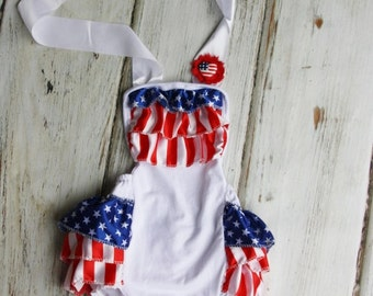 c7c5f083c1f5 4th of July Romper - Petti Romper- baby 4th of july outfit - Baby Sunsuit -  Bubble Romper - Ruffle Bottom - Girls 4th of July Outfit- Flag