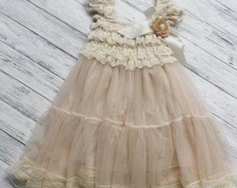 ffbb4c8ae Champagne Chiffon Girls Dress- Flower Girl Dresses- Cream dress- Lace dress-  Rustic Girls Dress- Baby Lace Dress- Junior Bridesmaid