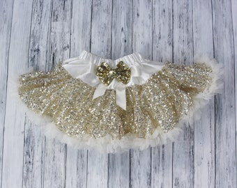 d0abd0e41421 Gold Sequins Pettiskirt-Baby Skirt-Toddler Skirt-Girls Ivory Skirt-Lace  Petti-1st Birthday Outfit-Tutu skirt-Extra Fluffy Skirt-Sequin Skirt