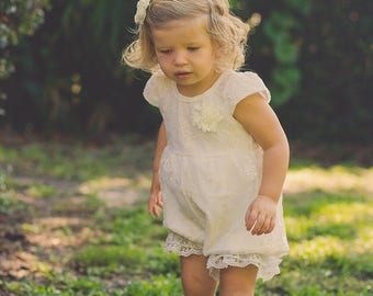 124ee347cf97 Ivory Lace Romper - Baby Romper -Flower Girl Romper - Girls Lace Outfit  Romper - Vintage Romper- Ruffle Romper - Romper - Vintage inspired