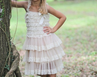 945852a8d Rustic Flower Girl Dress- Flower Girl Dresses- Cream dress- Lace dress- Rustic  Girls Dress- Baby Lace Dress- Junior Bridesmaid