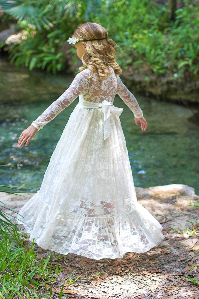 Flower Girl Dress-lvory Lace Long Sleeve Dress Baby Flower image 0