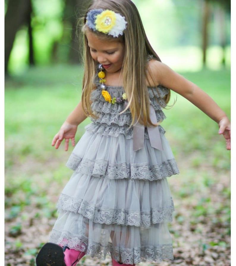 fab4f502a Gray Chiffon Girls Dress Flower Girl Dresses Cream dress   Etsy