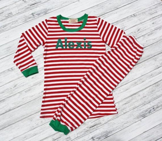 Personalized Christmas Pajamas Kids.Personalized Christmas Pajamas Red And White Striped Pj S With Name Pj Kids Pajamas Monogramed Pajamas Striped Childrens Pajamas Kids