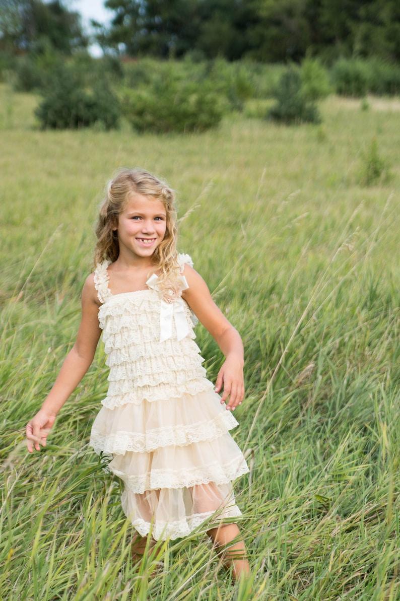 a3a46b37b9d Champagne Chiffon Girls Dress Flower Girl Dresses Cream