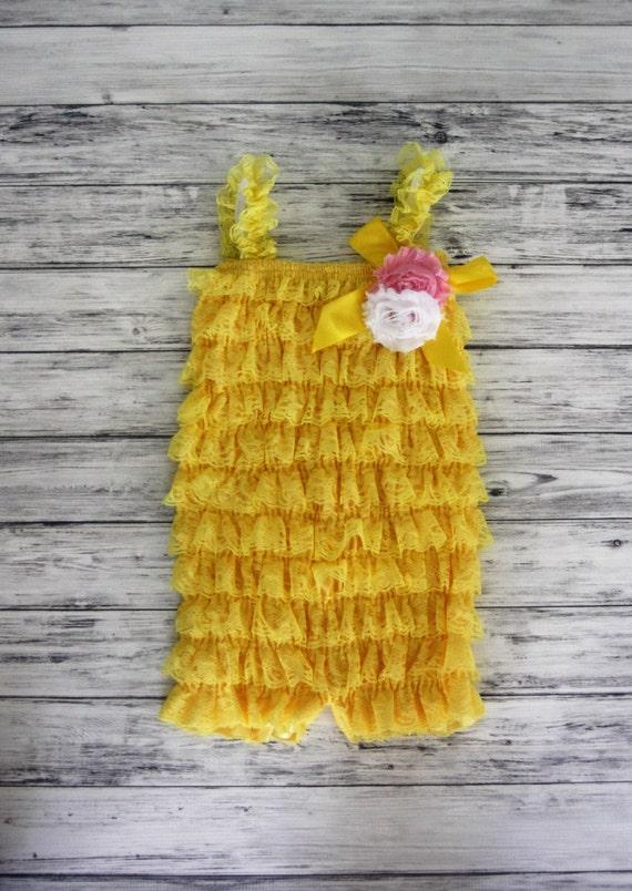 c72c73f99d5 Yellow Petti Romper with Flower Petti Romper Lace Romper