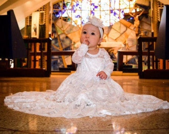 Baptism Dress-lvory Lace Long Sleeve Dress- Baby Flower Girl Dress- Dresses- Ivory Girls Dress-Cream Dress- Rustic Wedding Dress