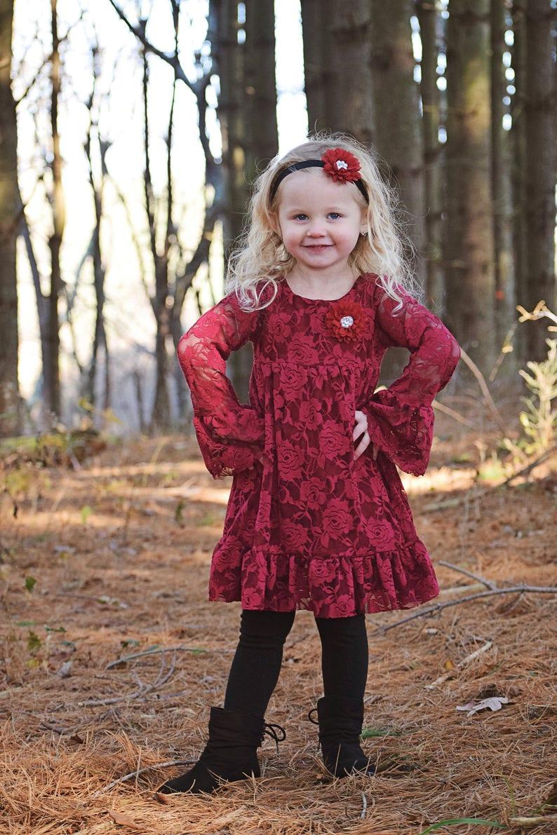 24ee68ae7e5 Burgundy Long sleeve Flower Girl Dresses Christmas Dress
