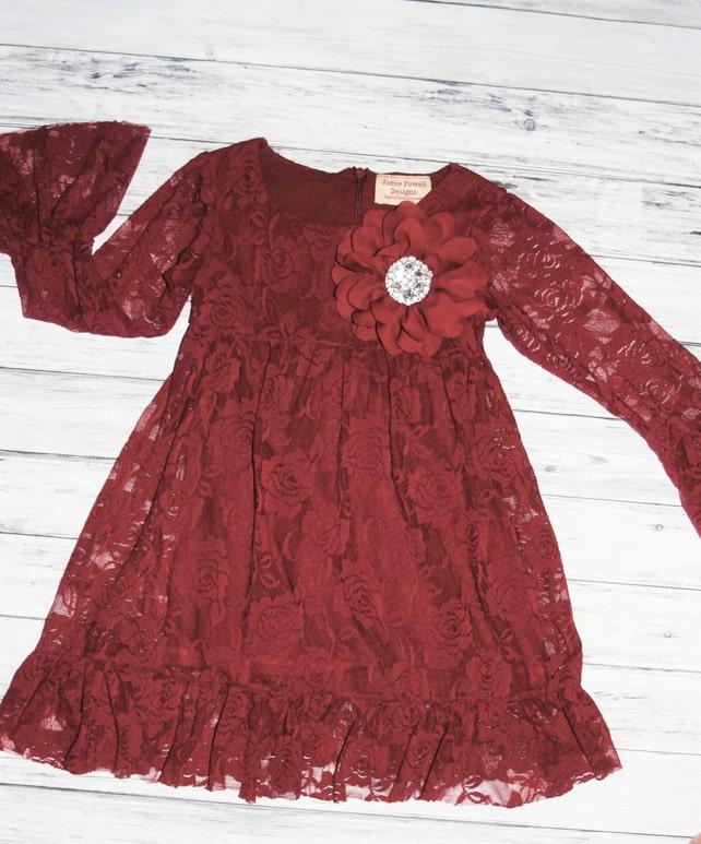Burgundy Long sleeve Flower Girl Dresses Christmas Dress   Etsy