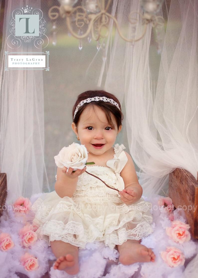 8ed3bfefc Champagne gasa niñas vestido flores niña vestidos crema encaje