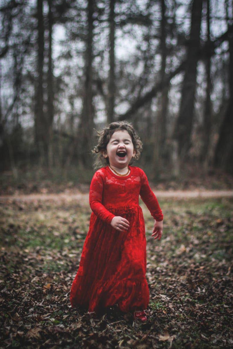 Valentine s Day Dress-Red Lace Long Sleeve Dress- Flower Girl Dresses-  Ivory Girls Dress-Cream Dress- Rustic Wedding Dress 69c74486d