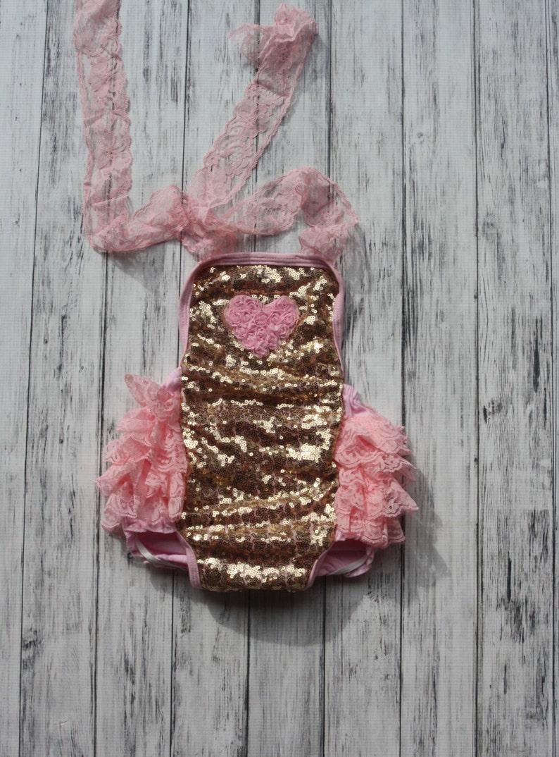 fce6f97b1f24 Baby Romper Gold Sequins Romper w  heart 1st Birthday