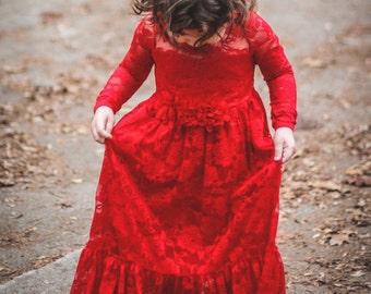 Flower Girl Dress-Red Lace Long Sleeve Dress- Flower Girl Dresses- Ivory Girls Dress-Cream Dress- Rustic Wedding Dress