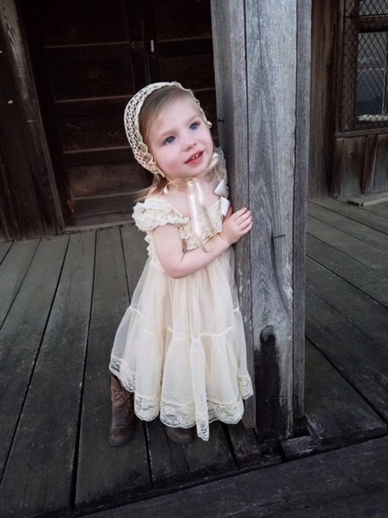 67e65ae37 Champagne Chiffon Girls Dress Flower Girl Dresses Cream   Etsy