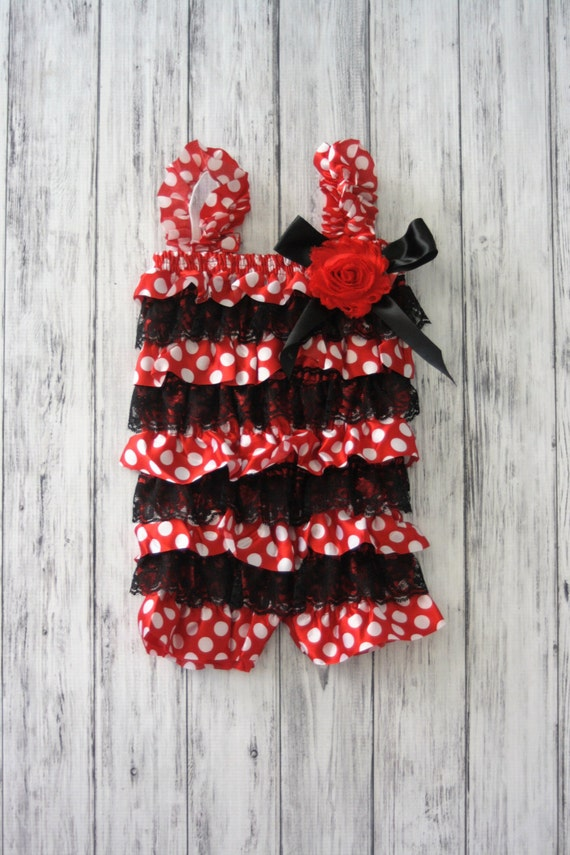 1fd45454871 Mouse romper inspired Red and Black with polka dots baby
