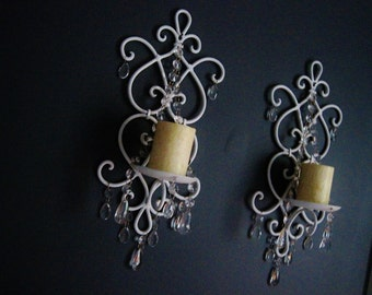 PAIR 2 Cottage Chic Scroll Candle Wall Sconces in Snow White Set of 2 MADE To ORDER