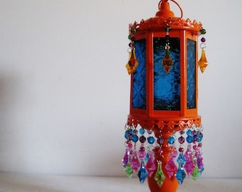 The Gypsy Tent Aqua Glass Candle Holder Pedestal Lantern In Orange MADE TO ORDER