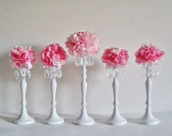Custom Floral Chandelier Candlesticks MADE TO ORDER for Weddings and Events