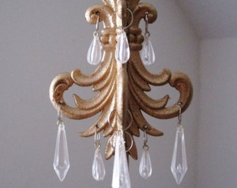 Car Chandelier In Antique Gold Leaf Scroll READY TO SHIP