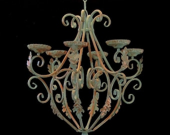 Copper Patina Hand-painted Candle Chandelier MADE TO ORDER