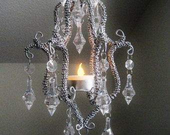 Petite Glam One Candle Chandelier in Chrome Silver