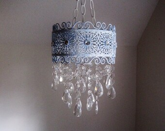 Cottage Style French Brocade Band Candle Chandelier in Antiqued Powder Blue MADE TO ORDER