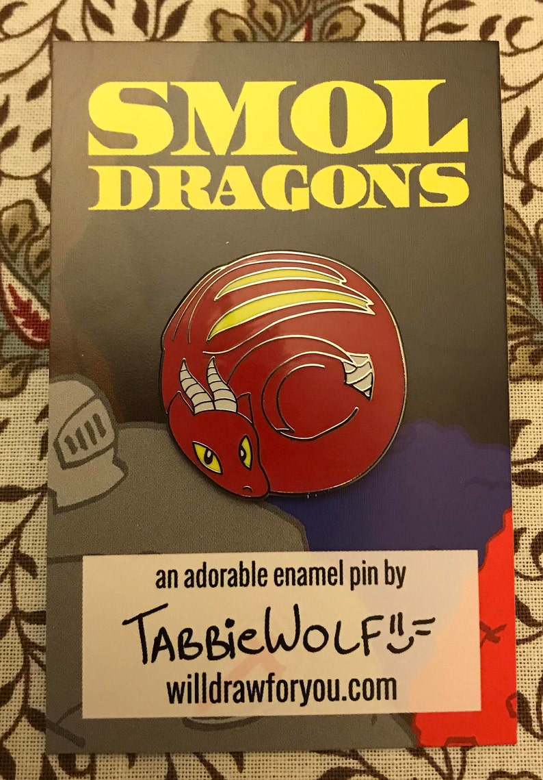 Smol Dragons  Red Dragon Enamel Pin image 0
