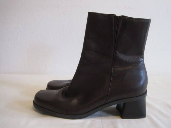 vintage Chocolate Brown Leather Mid Calf Boots by Naturalizer  3f64ea58cde5