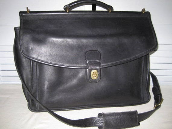 vintage Coach Black Leather Briefcase