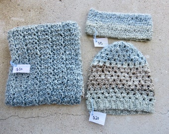 Blue and Grey Infinity Scarf, Slouchy Beanie, and Headband Set