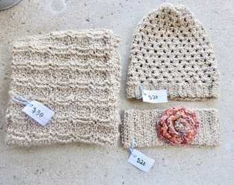Beige Infinity Scarf, Slouchy Beanie, and Pink Rosette Headband