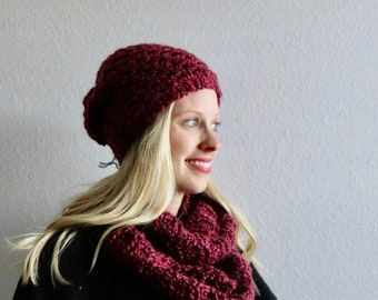 Maroon Infinity Scarf and Slouchy Beanie Set