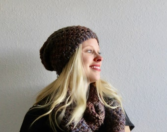 Sugar and Spice Infinity Scarf, Slouchy Hat, Gloves, and Headband Set