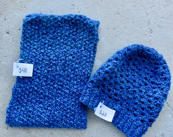 Royal Blue Infinity Scarf and Slouchy Beanie