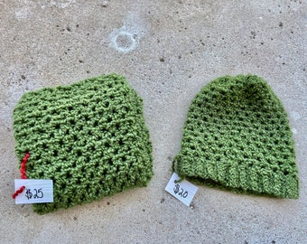 Green Crocheted Infinity Scarf and Beanie Set