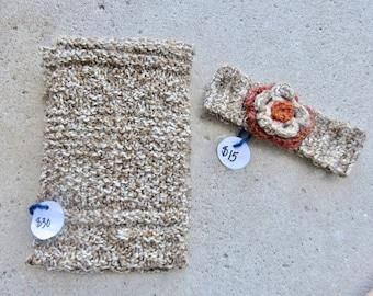 Beige Infinity Scarf and Orange Flower Headband