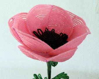 Giant Poppy, pink - French Beaded Flower